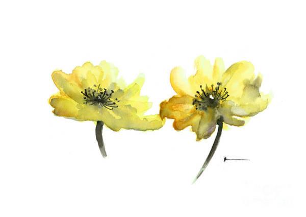 Wall Art - Painting - Yellow Flowers Painting Watercolor Art Print by Joanna Szmerdt