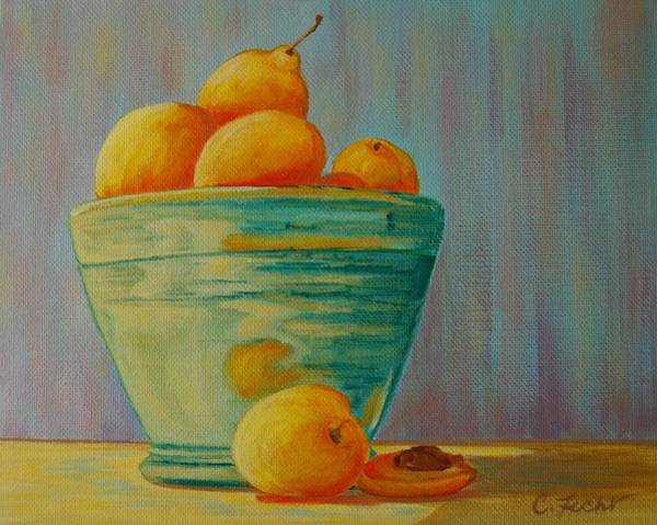 Painting - Yellow Fruit Blue Bowl by Cheryl Fecht