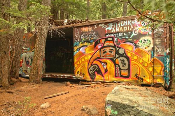 Photograph - Yellow Graffiti Covered Whistler Train Wreck by Adam Jewell