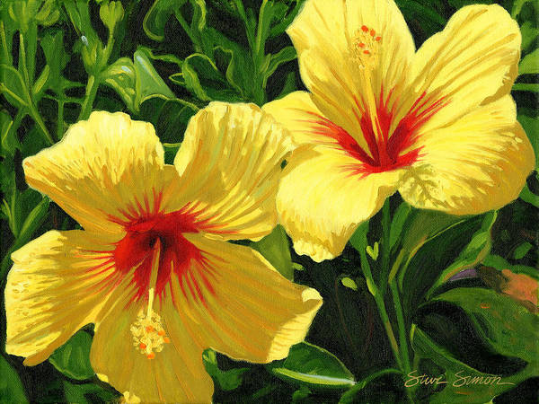 Hibiscus Painting - Yellow Hibiscus by Steve Simon