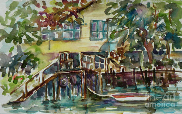 Painting - Yellow House By The River by Xueling Zou