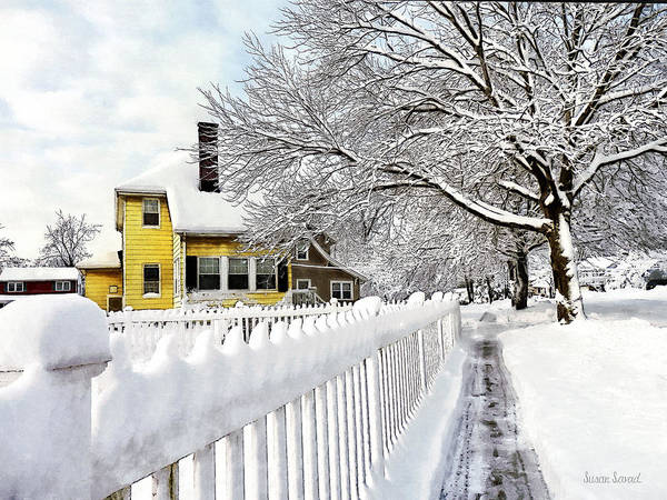 Photograph - Yellow House With Snow Covered Picket Fence by Susan Savad