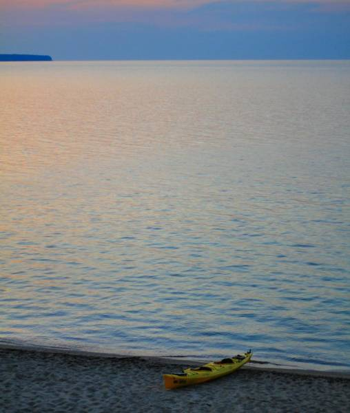 Photograph - Yellow Kayak On The Beach At Lake Superior by Dan Sproul