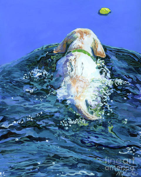 Retriever Wall Art - Painting - Yellow Lab  Blue Wake by Molly Poole