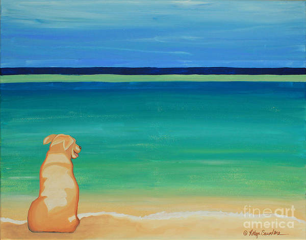 Painting - Yellow Dog On The Beach by Robyn Saunders
