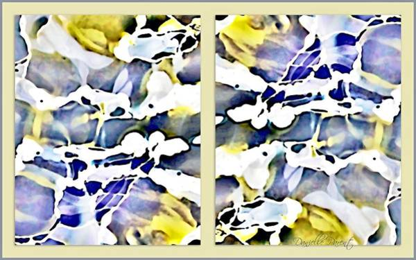 Painting - Yellow Lavender White Nuances  Abstract Alcohol Inks by Danielle  Parent