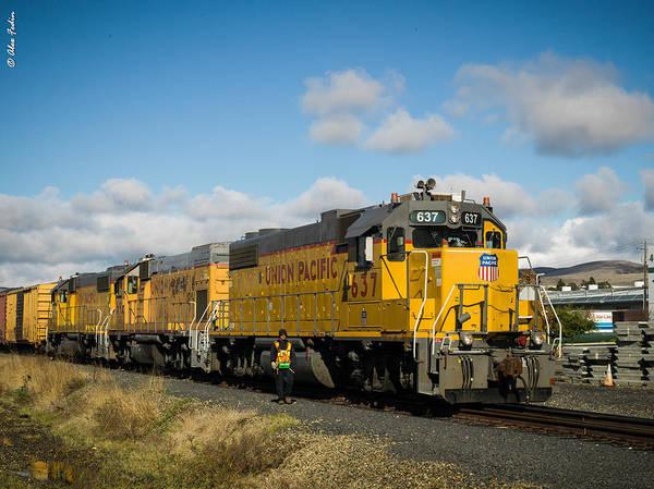 Photograph - Yellow Locomotive by Alexander Fedin