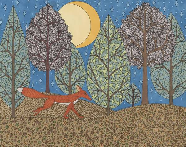 Nocturnal Drawing - Yellow Moon Rising by Pamela Schiermeyer