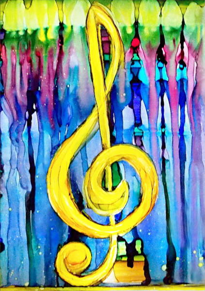 Photograph - Yellow Music Key Alcohol Inks by Danielle  Parent