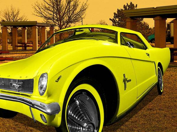 Digital Art - Yellow Mustang by Tristan Armstrong