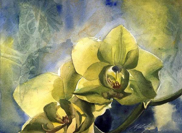 Painting - Yellow Orchid With Blues by Alfred Ng