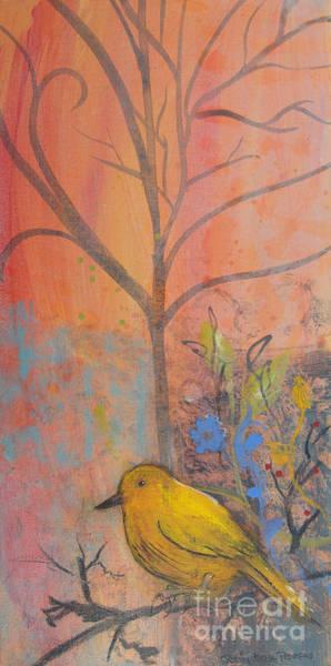Painting - Yellow Peace Bird On Orange by Robin Maria Pedrero