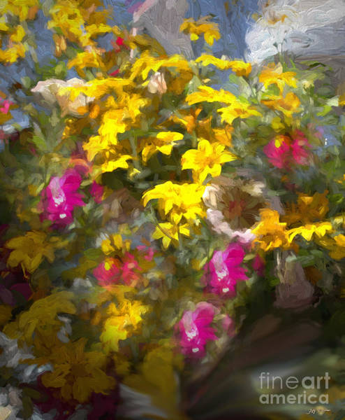 Wall Art - Photograph - Yellow Pink Flowers Mixed Media Painting by Heinz G Mielke