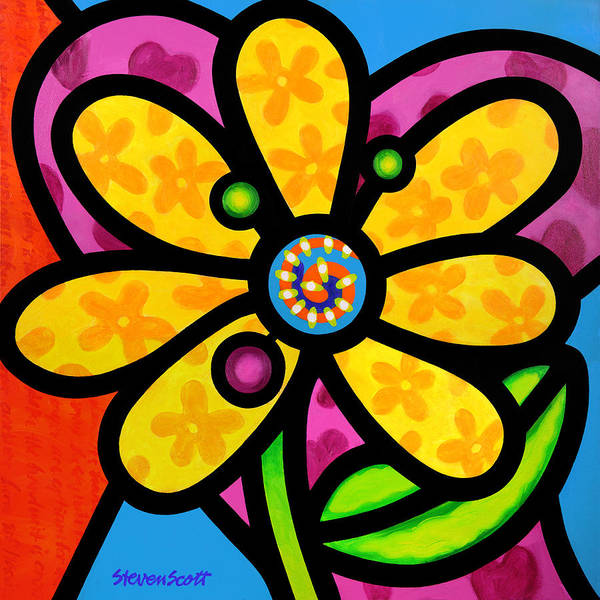 Wall Art - Painting - Yellow Pinwheel Daisy by Steven Scott