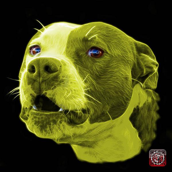 Mixed Media - Yellow Pitbull Dog 7769 - Bb - Fractal Dog Art by James Ahn