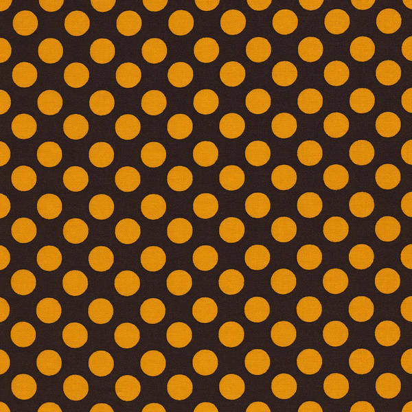 Girly Photograph - Yellow Polka Dots On Black Fabric Background by Keith Webber Jr