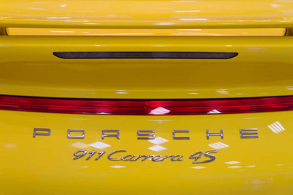 Fuel Wall Art - Photograph - yellow Porsche by Stelios Kleanthous