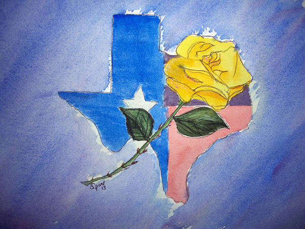 Lone Star Painting - Yellow Rose Of Texas by Spencer  Joyner