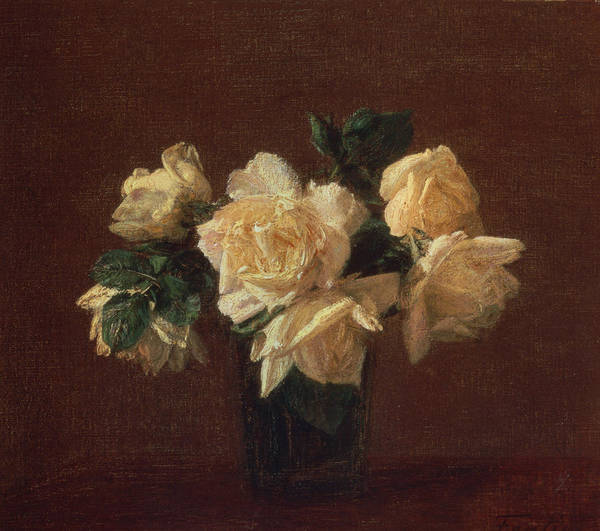 Vase Of Flowers Painting - Yellow Roses by Ignace Henri Jean Fantin-Latour