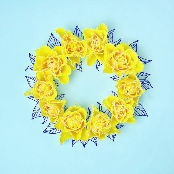 Sparse Photograph - Yellow Roses In A Circle With Drawings by Juj Winn