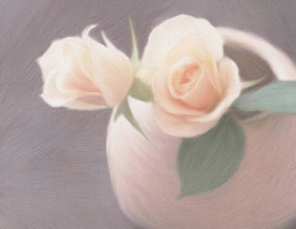 Painting - Yellow Roses Matching Clay Vase by Dennis Buckman