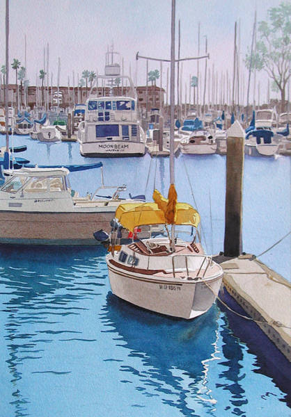 Boats Wall Art - Painting - Yellow Sailboat Oceanside by Mary Helmreich