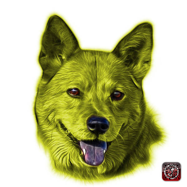 Mixed Media - Yellow Shiba Inu Dog Art - 8555 - Wb by James Ahn