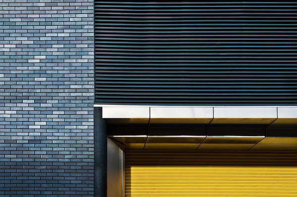 Bricks Photograph - Yellow Shutter by Linda Wride