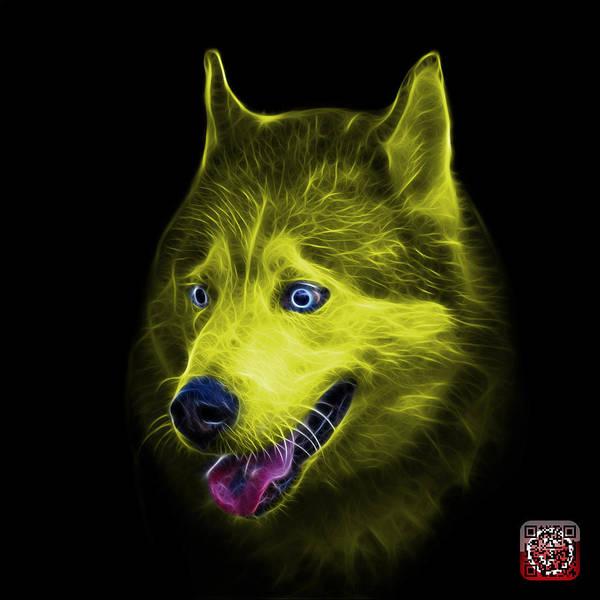 Painting - Yellow Siberian Husky Dog Art - 6062 - Bb by James Ahn