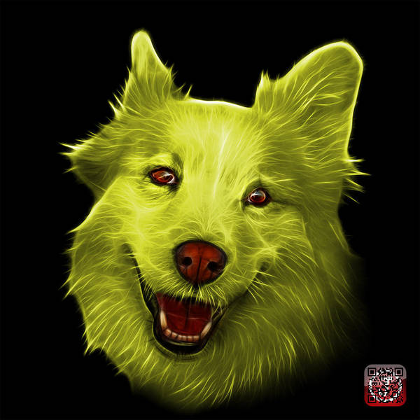 Painting - Yellow Siberian Husky Mix Dog Pop Art - 5060 Bb by James Ahn