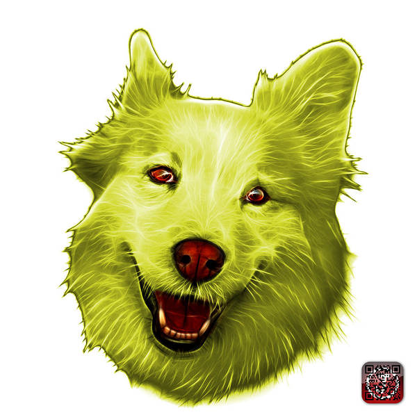 Painting - Yellow Siberian Husky Mix Dog Pop Art - 5060 Wb by James Ahn