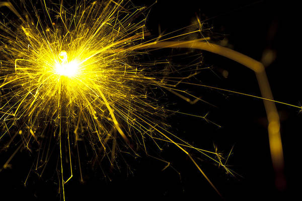 Sparks Wall Art - Photograph - Yellow Sparkle by Samuel Whitton