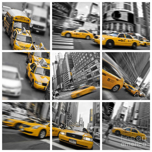 Yellow Taxi Photograph - Yellow Taxis Collage by Delphimages Photo Creations
