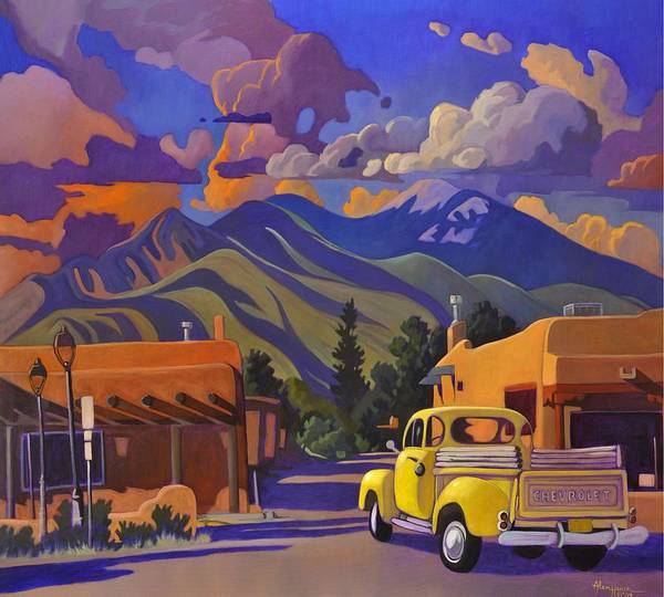 Canaries Painting - A Yellow Truck In Taos by Art West