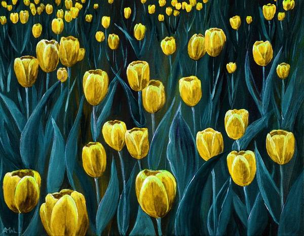Painting - Yellow Tulip Field by Anastasiya Malakhova