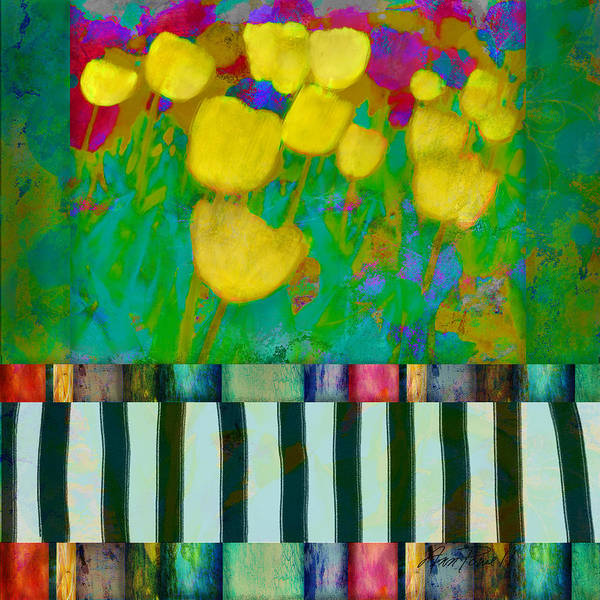 Bright Flowers Mixed Media - Yellow Tulips Abstract Art by Ann Powell