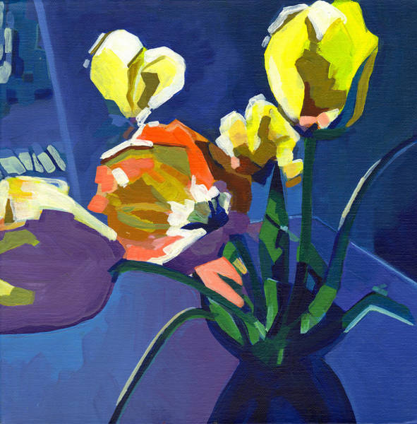 Painting - Yellow Tulips On Purple Background by Tanya Filichkin