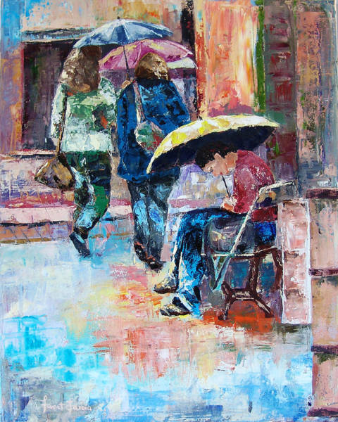 Painting - Yellow Umbrella by Janet Garcia
