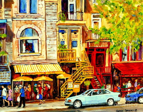 Painting - Yellow Umbrellas On Rue St Denis Cafe Paintings Montreal Summer City Scenes Cafe Soleil Bistro  by Carole Spandau