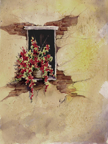 Painting - Yellow Wall With Red Flowers by Sam Sidders