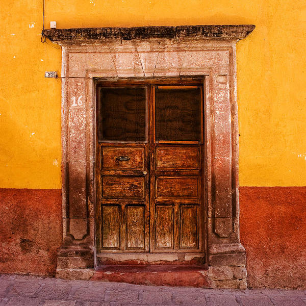 San Miguel De Allende Wall Art - Photograph - Yellow Wall Wooden Door by Carol Leigh