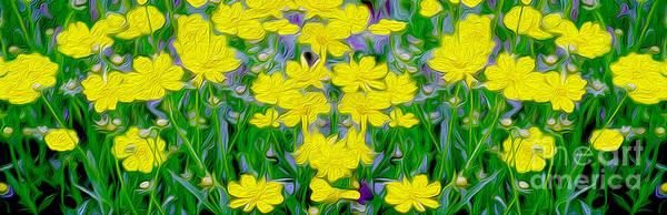 Wild Life Mixed Media - Yellow Wild Flowers by Jon Neidert
