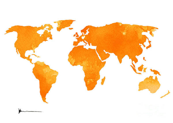 Wall Art - Painting - Yellow World Map Silhouette For Sale by Joanna Szmerdt