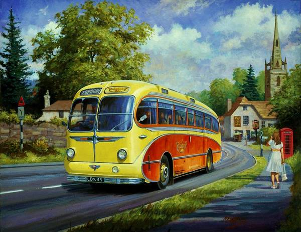 Luxury Painting - Yelloways Seagull Coach. by Mike Jeffries