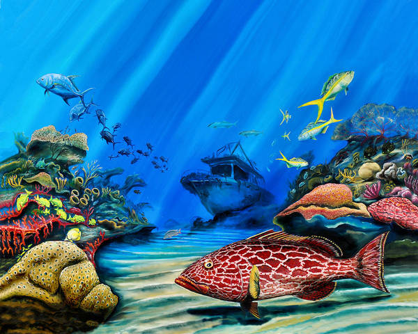 Painting - Yellowfin Grouper Wreck by Steve Ozment