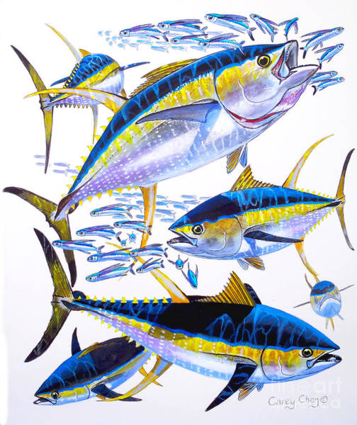 Catch Painting - Yellowfin Run by Carey Chen