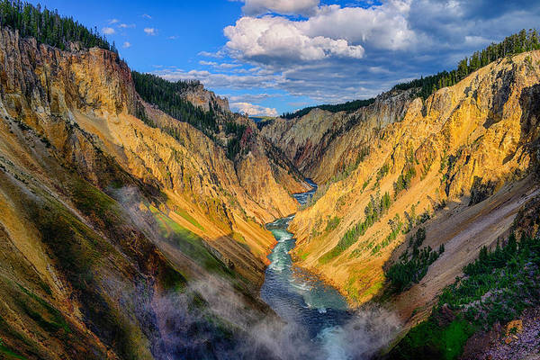 Art Print featuring the photograph Yellowstone Canyon View by Greg Norrell