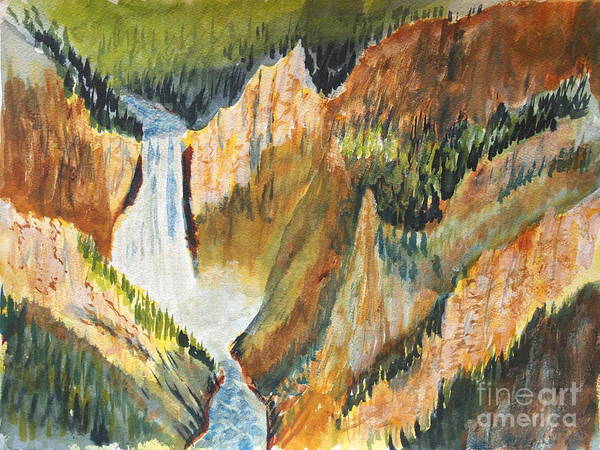 Painting - Yellowstone Falls by Walt Brodis