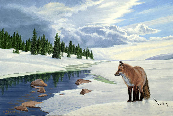 Wall Art - Painting - Yellowstone Fox by Paul Krapf
