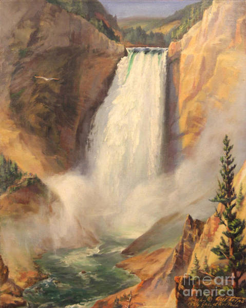 Painting - Yellowstone Lower Falls 1954 - Wyoming  by Art By Tolpo Collection
